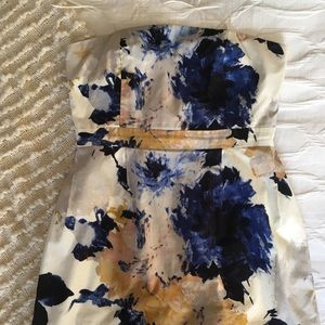 J. Crew Watercolor Floral Strapless Dress
